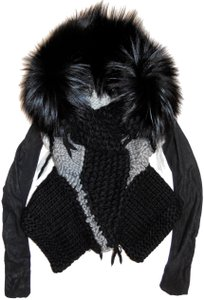 Rick Owens Hun Fur Chunky Knit Multi Leather Jacket