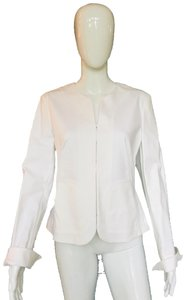 Adrienne Vittadini Cotton Top Blazer White Jacket