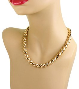 Other San Marco Italy 14k Yellow Gold Macaroni Link Necklace