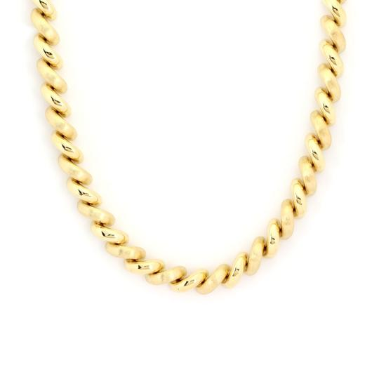 Other San Marco Italy 14k Yellow Gold Macaroni Link Necklace Image 2