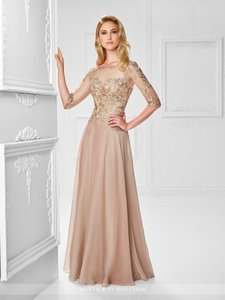 Montage by Mon Cheri Blush Chiffon and Hand-beaded Lace 117901 Traditional Bridesmaid/Mob Dress Size 14 (L)