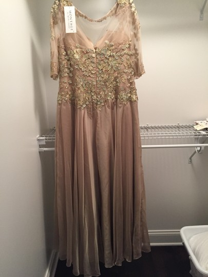 Montage by Mon Cheri Blush Chiffon and Hand-beaded Lace 117901 Traditional Bridesmaid/Mob Dress Size 14 (L) Image 4