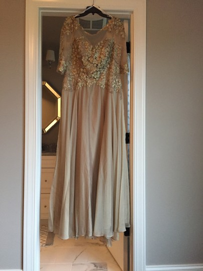 Montage by Mon Cheri Blush Chiffon and Hand-beaded Lace 117901 Traditional Bridesmaid/Mob Dress Size 14 (L) Image 6