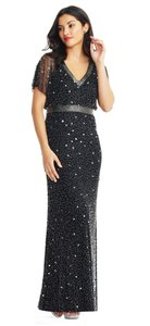 Adrianna Papell Black Beaded Ap1e204273 Formal Bridesmaid/Mob Dress Size 2 (XS)