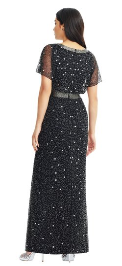 Adrianna Papell Black Beaded Ap1e204273 Formal Bridesmaid/Mob Dress Size 2 (XS) Image 1