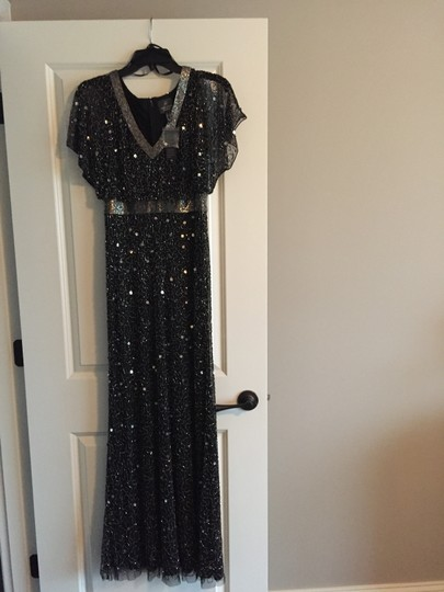 Adrianna Papell Black Beaded Ap1e204273 Formal Bridesmaid/Mob Dress Size 2 (XS) Image 4