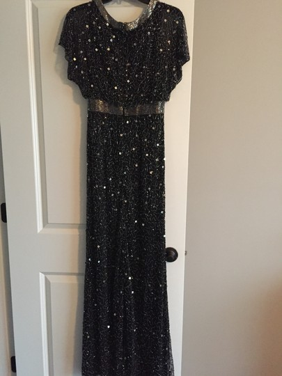 Adrianna Papell Black Beaded Ap1e204273 Formal Bridesmaid/Mob Dress Size 2 (XS) Image 5