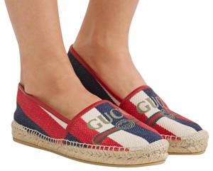 Gucci Red White Blue Espadrilles Canvas Espadrilles Nautical multicolor Flats