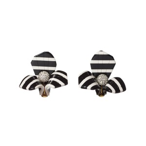 Lele Sadoughi Lele Sadoughi Black White E920 14k Stripe Trillium Stud Earrings