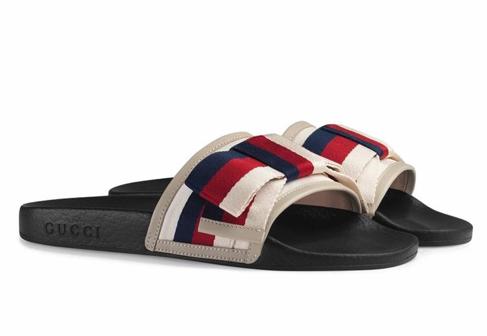 ce688243 Gucci Multicolor Pursuit Red White Blue Canvas Bow Pool B874 Sandals Size  EU 38 (Approx. US 8) Regular (M, B) 22% off retail