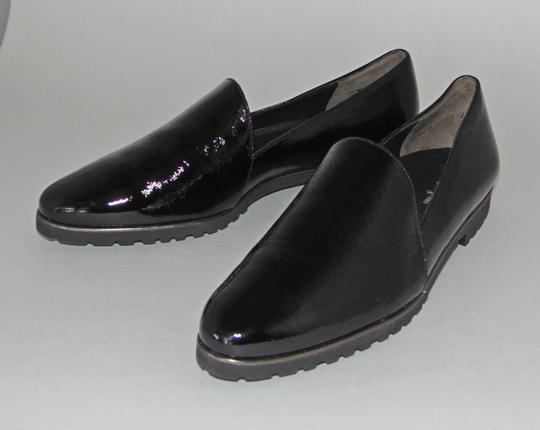 Paul Green Loafer Black Textured Patent Flats Image 1