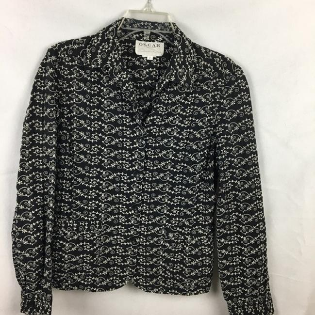 Oscar de la Renta Button Down Shirt Black & White Image 4