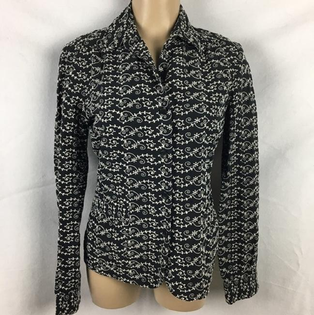 Oscar de la Renta Button Down Shirt Black & White Image 5