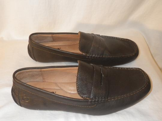 Brn Loafers Leather Men's. Brown Flats Image 1