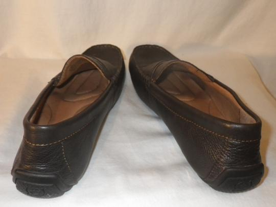 Brn Loafers Leather Men's. Brown Flats Image 2