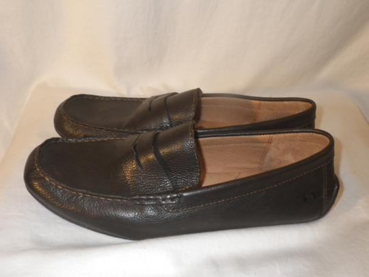 Brn Loafers Leather Men's. Brown Flats Image 3