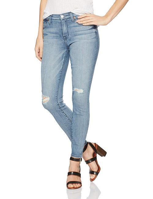7 For All Mankind Denim Pants White Skinny Jeans-Distressed Image 4