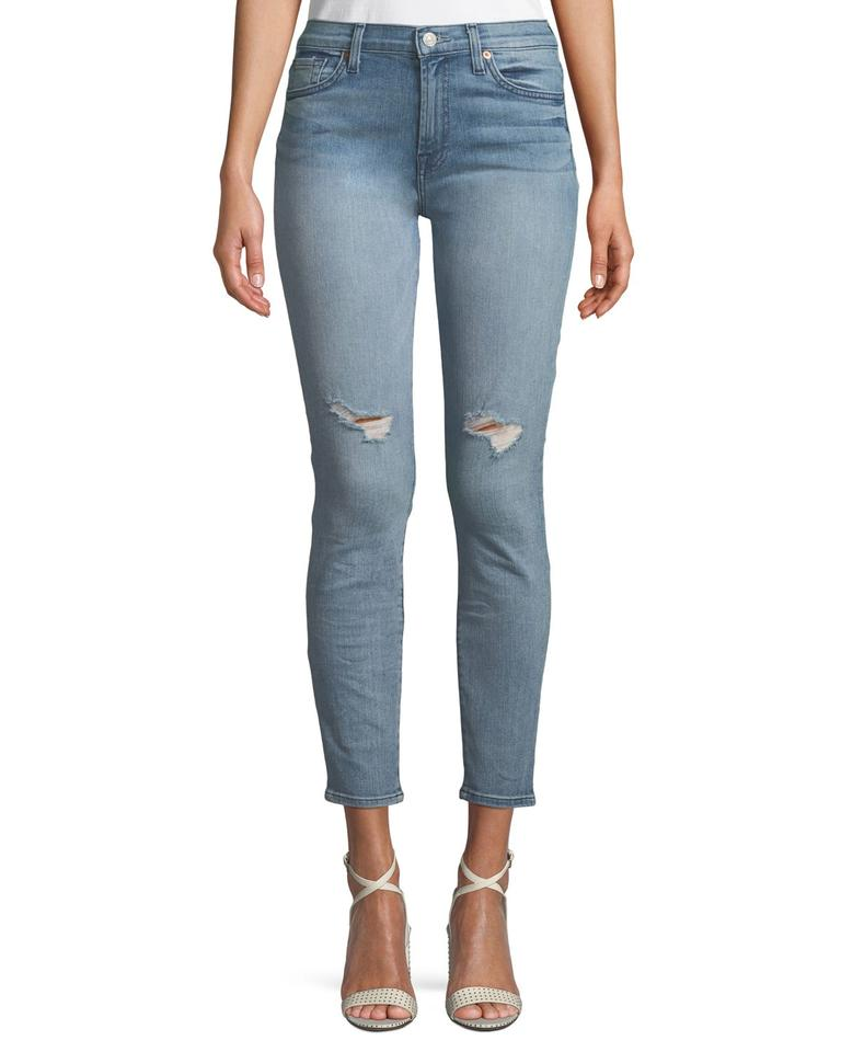 rich and magnificent choose newest fair price 7 For All Mankind Addison Light Sky Distressed Gwenevere Ankle Skinny Jeans  Size 29 (6, M) 35% off retail