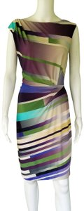 Suzi Chin for Maggy Boutique short dress Green, Purple, Cream, Slinky Ruched Striped on Tradesy