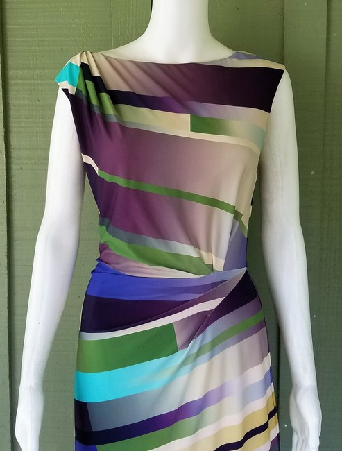 Suzi Chin for Maggy Boutique short dress Green, Purple, Cream, Slinky Ruched Striped on Tradesy Image 1