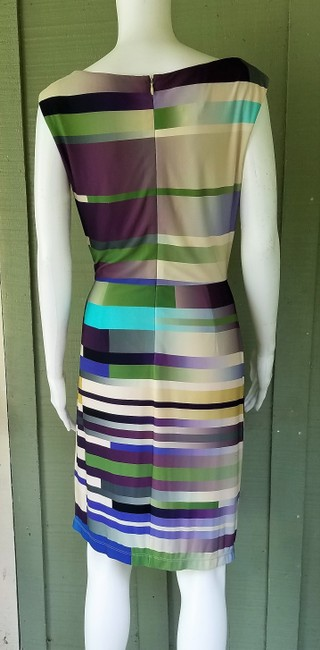 Suzi Chin for Maggy Boutique short dress Green, Purple, Cream, Slinky Ruched Striped on Tradesy Image 2
