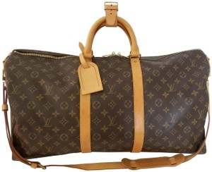 Louis Vuitton Carry On Bandouliere Luggage Luggage Keepall Duffle Brown Travel Bag