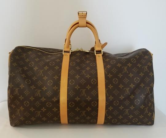 Louis Vuitton Carry On Bandouliere Luggage Luggage Keepall Duffle Brown Travel Bag Image 1