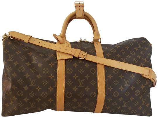 Louis Vuitton Carry On Bandouliere Luggage Luggage Keepall Duffle Brown Travel Bag Image 4