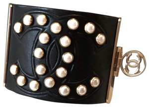 Chanel Rare Pearl Studded CC Black Leather Cuff Bracelet