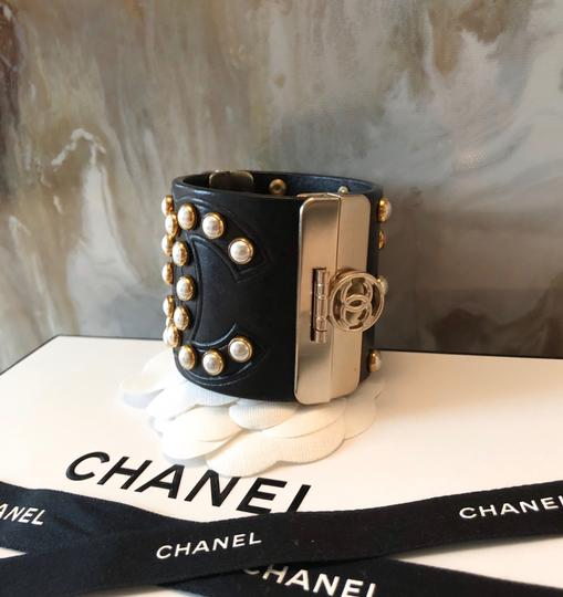 Chanel Rare Pearl Studded CC Black Leather Cuff Bracelet Image 1
