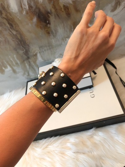Chanel Rare Pearl Studded CC Black Leather Cuff Bracelet Image 4