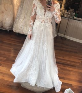 White / Bronze Lace Hailey Gown Formal Wedding Dress Size 8 (M)