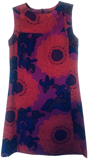 Item - Multi Colored Red/Purple Shift Short Casual Dress Size 4 (S)