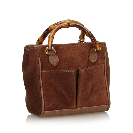 Gucci 9fgust007 Vintage Leather Satchel in Brown Image 1