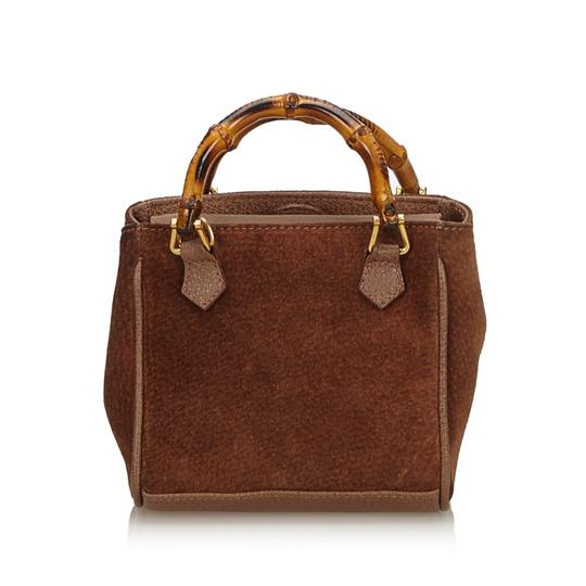 Gucci 9fgust007 Vintage Leather Satchel in Brown Image 2