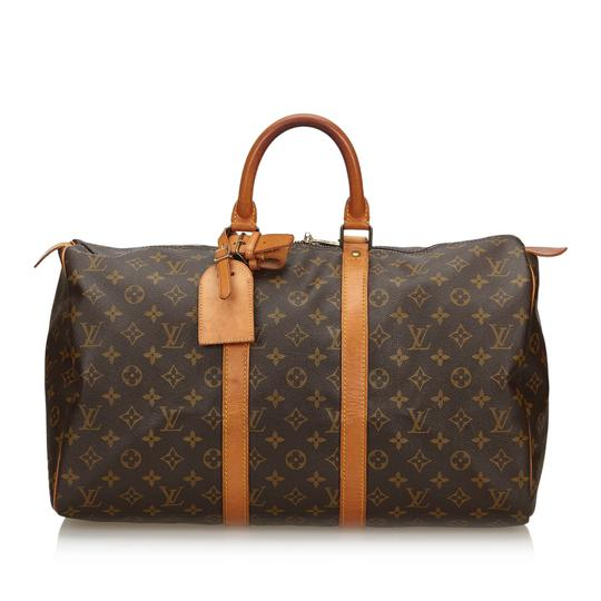 Preload https://img-static.tradesy.com/item/25655254/louis-vuitton-keepall-monogram-45-france-large-brown-coated-canvas-leather-weekendtravel-bag-0-0-540-540.jpg