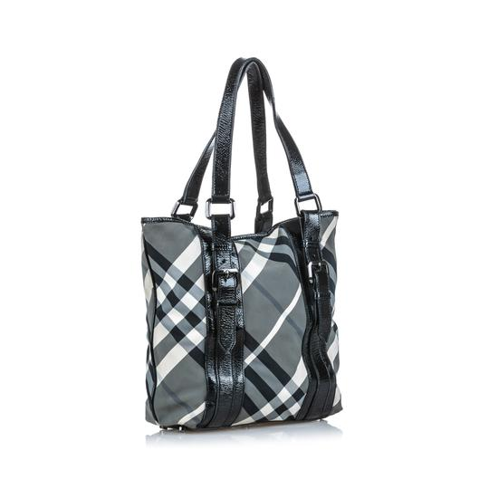 Burberry 9dbuto022 Vintage Canvas Leather Tote in Black Image 1