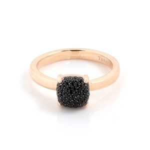 Tiffany & Co. Picasso Sugar Stack Pave Black Spinels 18k Rose Gold Ring
