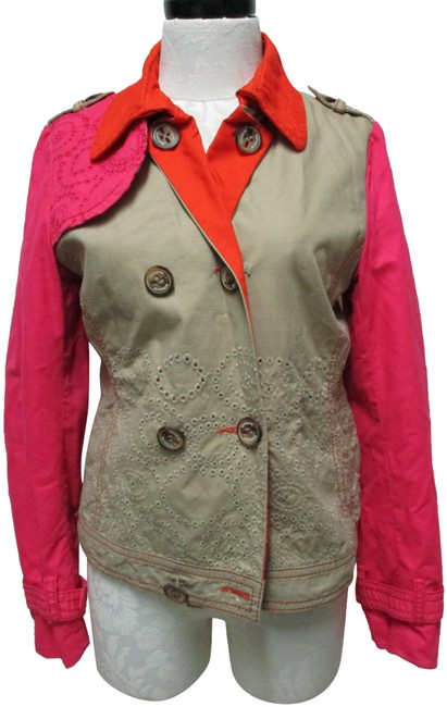 Item - Khaki Pink Embroidered Color-block Medium Md M Jacket Size 10 (M)