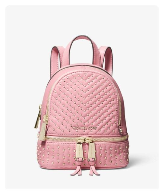 Item - Rhea Mini Studded Convertible Carnation Pink Leather Backpack