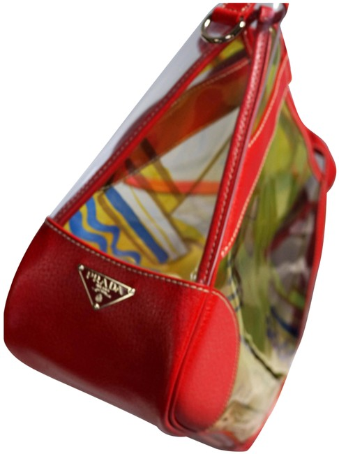 Item - Tote Cert/Care/Dustbag Clear Red Yellow Blue Leather & Plexy Vinyl Pvc Weekend/Travel Bag