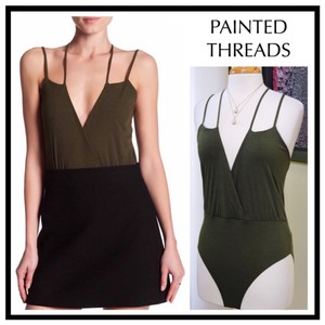 painted threads Top Olive Green