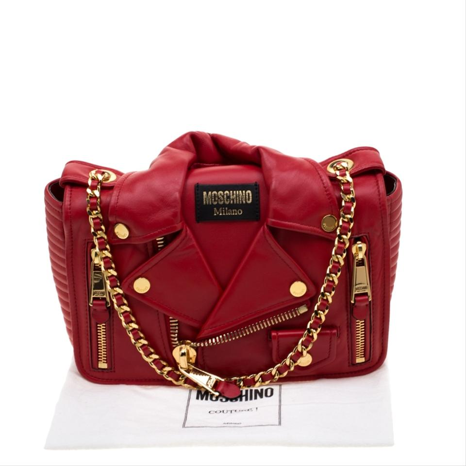4b733647f6276 Moschino Capsule Biker Jacket Red Leather Shoulder Bag - Tradesy