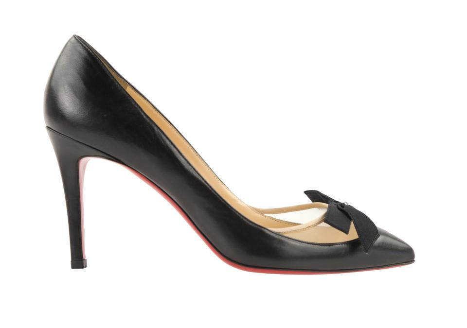 6dd8ee57305 Christian Louboutin Black Love Me 85mm Leather and Mesh Bow Pumps Size EU  38.5 (Approx. US 8.5) Regular (M, B) 64% off retail