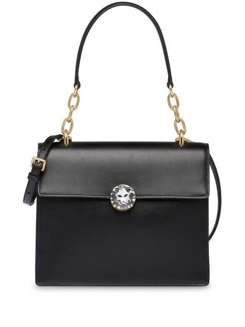 Miu Miu Solitaire Clasp Frame Black Smooth Calfskin Leather Shoulder Bag Miu Miu Solitaire Clasp Frame Black Smooth Calfskin Leather Shoulder Bag Image 1