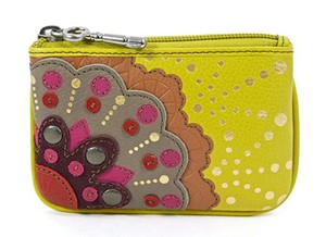 fossil Yellow Applique Bright Multi Leather Zip Coin Purse Wallet