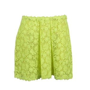 Valentino Floral Embroidered Polyester Pleated Detail Mini Skirt Neon Yellow