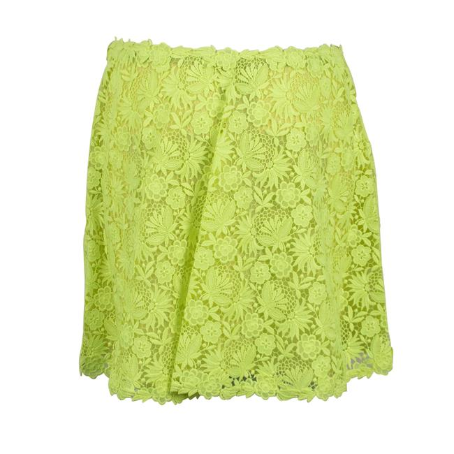 Valentino Floral Embroidered Polyester Pleated Detail Mini Skirt Neon Yellow Image 1