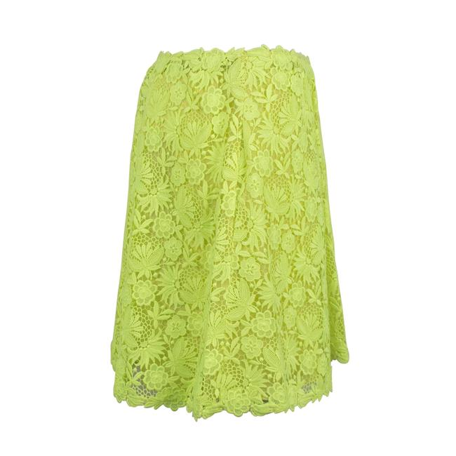 Valentino Floral Embroidered Polyester Pleated Detail Mini Skirt Neon Yellow Image 2