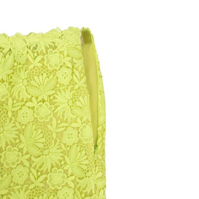 Valentino Floral Embroidered Polyester Pleated Detail Mini Skirt Neon Yellow Image 3